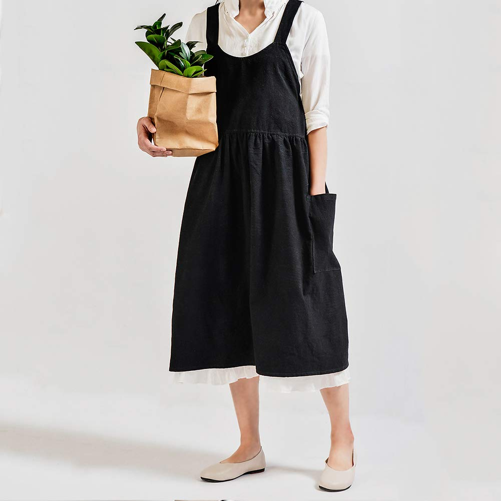 High Waist Skirt Apron Cotton Literary and Linen Waterproof and Antifouling Apron Kitchen Flower Shop Hotel Coffee Shop Overalls Apron,Almond