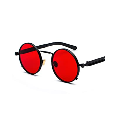 Classic Sports Sunglasses, Clear Red Sunglasses Men Steampunk NEW Metal Frame Retro Vintage Round Sun Glasses For Women Black Uv400 as show in photo rose gold: Ropa y accesorios