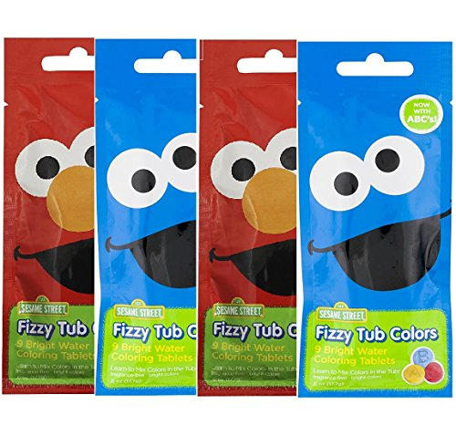 Sesame Street Fizzy Tub Colors - Up to 9 Baths Per Pouch - (Pack of 4)