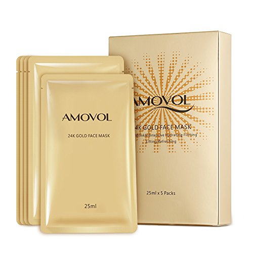24K Gold Face Mask Hydration Anti-Aging Best Facial Treatment Deep Moisturizing Mask, Reduces the Appearances of Puffiness, Tired Looking and Wrinkles, Suitable For Dry, Oil, Sensitive Skin, 5 Masks ()
