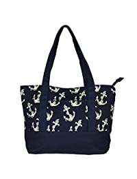 NEW! High Quality Zippered Pattern Prints Large Roomy Canvas Tote Bag,Anchor
