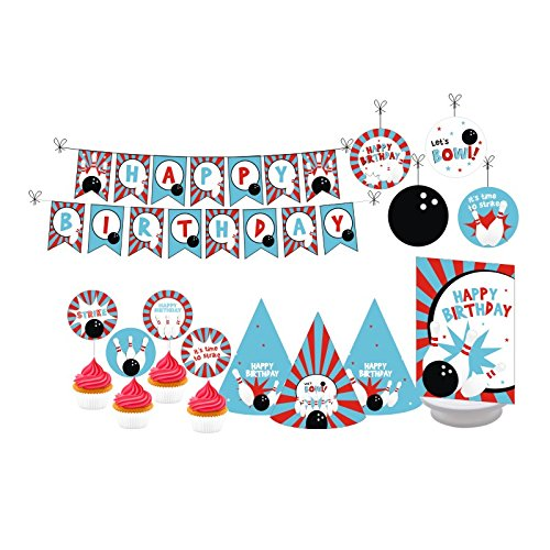 Bowling Party. Bowling Birthday Decorations for Girls. Bowling Birthday Decorations for Boys. Includes Party Hats, Centerpieces, Bunting Banner, Danglers and Cupcake Toppers Bowling Birthday Cake