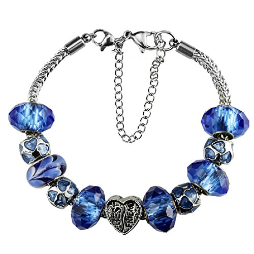 Silver Plated Crystal Charm Bracelet with Charms for Pandora Cobalt Blue Best Friend Christmas and Birthday Gift Ideas for Women Ladies Mom Grandma 7.5