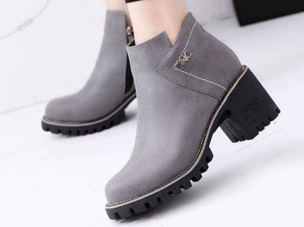 XDGG Frauen Die neue künstliche PU Stiefel Stiefel Stiefel runde Kopf Martin Stiefel Freizeit Single Schuhe , grau , 37 e2826c