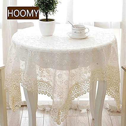 Hoomy Rustic Floral Small Table Cover Square Off White Embroidered TV Covers Modern Lace Table Cloth For Bedside Table 33 X33