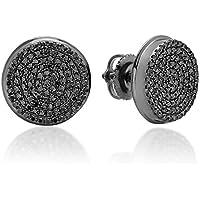 0.40 Carat (ctw) Real Black Diamond Micro Pave Hip Hop Mens Stud Earrings