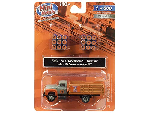 1954 Ford Stake Bed Truck with Oil Drums Union 76 1/87 (HO) Scale Model by Classic Metal Works 40001