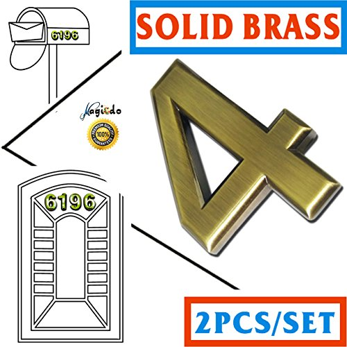 Magicdo Two Pieces of Number 4, Self-stick Solid Brass Number–2-3/4 Inch, Modern Mailbox Number, Modern House & Door Number, Car Number, Floating Appearance 3D Number Easy to install