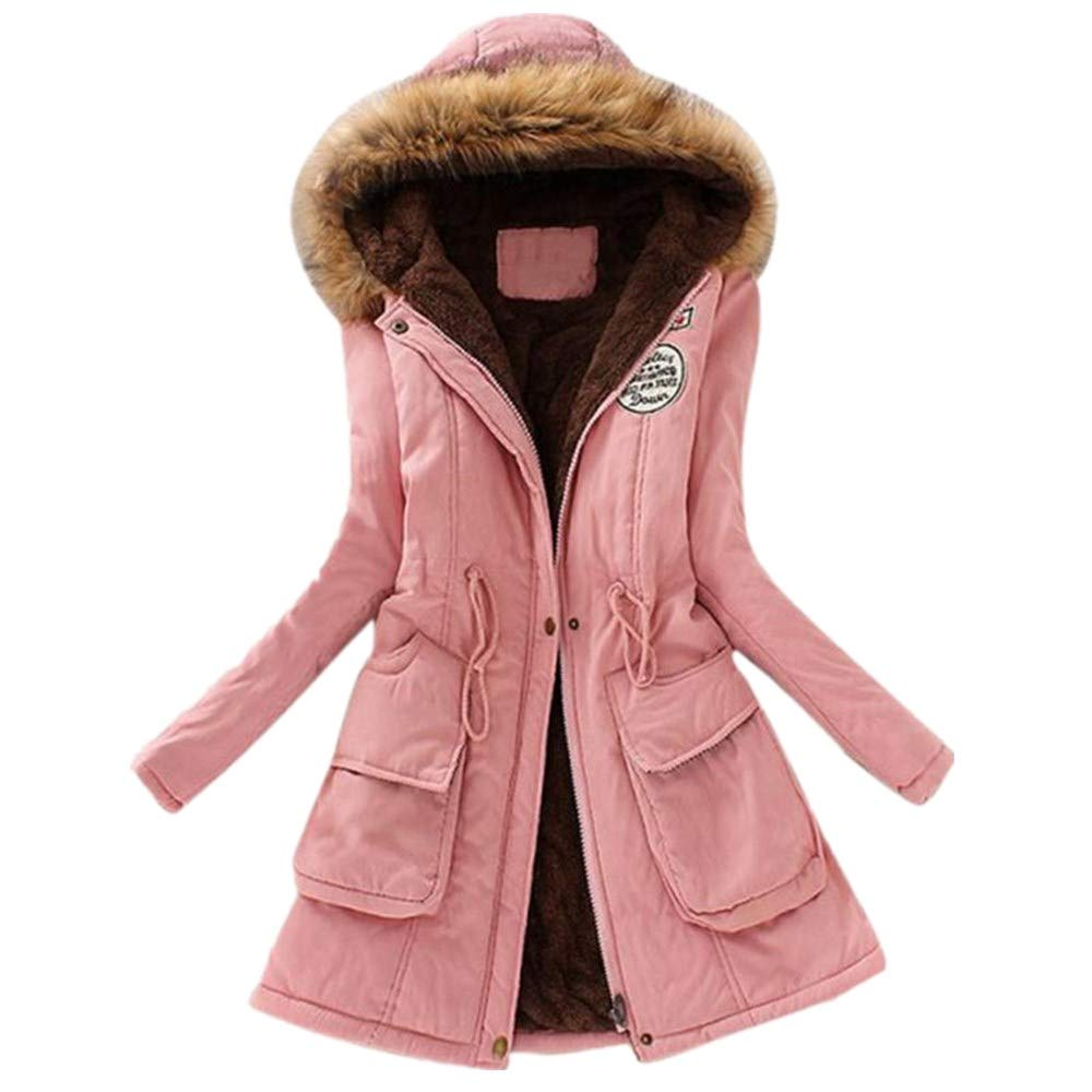 NUWFOR Coat Parka Jacket Womens Hooded Warm with Faux Fur Jackets for Winter/Autumn(Pink,L)