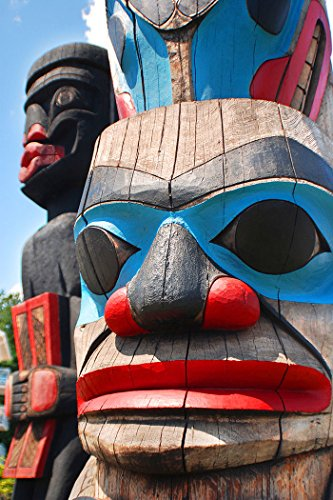 (Totem Poles Pacific Northwest Art Print, Poster or Canvas)