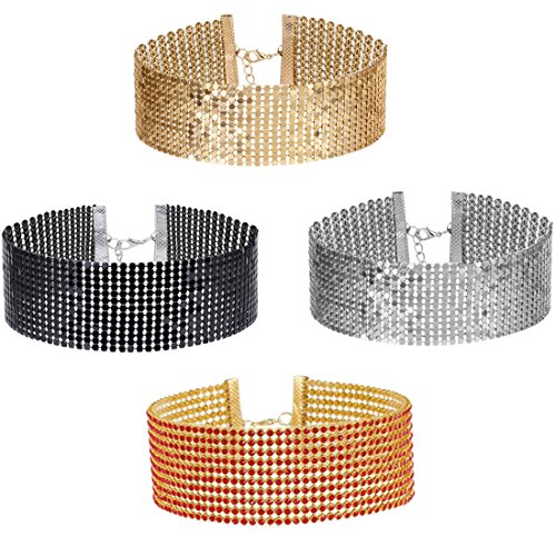 Tpocean 4pcs Sexy Gold Silver Black Sequins Pearl Rhinestone Choker Necklace Set for Women Girls Thick Choker Plus Size Party Jewerly Diamond (Black Sequin Rhinestone)
