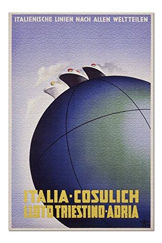 Italia - Cosulich - Lloyd Triestino - Adria Vintage Poster (Artist: Fontana) Germany c. 1935 (20x30 Premium 1000 Piece Jigsaw Puzzle, Made in ()