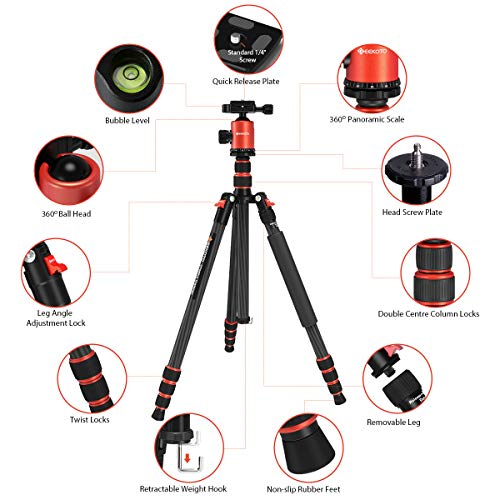 GEEKOTO 79 inches Carbon Fiber Camera Tripod Monopod with 360 Degree Ball Head 1/4 inch Quick Shoe Plate Professional Tripod Load up to 26.5 pounds