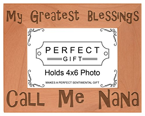 ThisWear Gift Grandma Blessings Call Me Nana Natural Wood Engraved 4x6 Landscape Picture Frame Wood