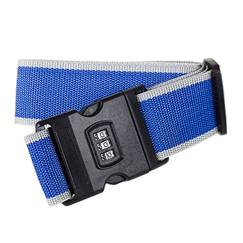 Luggage Strap, BONDEE Adjustable Suitcase Belt with Security Lock Travel Tags Accessories (Blue) -