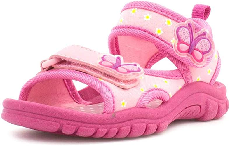 NEW BABY GIRLS LEATHER LINED PINK SANDALS OPEN TOE HOLIDAY SUMMER SHOES SIZE 5