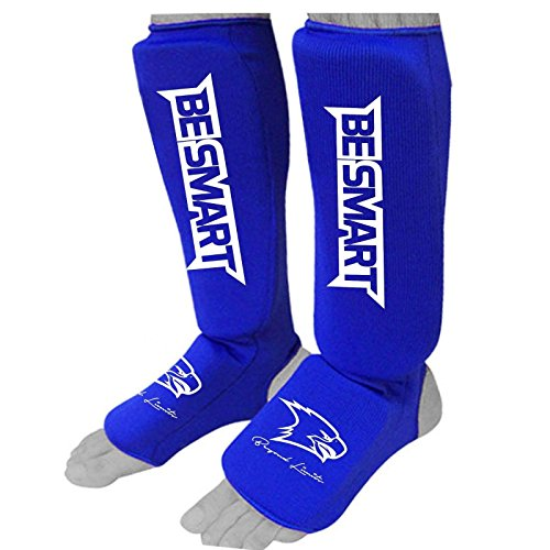 Kids Shin Instep Pads MMA Leg Foot Guards Muay Thai Kick Boxing Guard Protector (Blue, XXXS ( 3 to 8 Years - Protector Instep Shin
