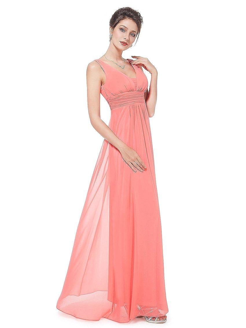 Ever Pretty Vestido para mujer largo 08110 naranja coral 48: Amazon ...