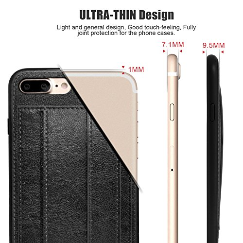 Cucell iPhone 7 Plus Case Wallet Case Stand Cover,Hybrid Ultra-Slim Soft Premium PU Leather TPU Silicone Case with Credit Card Holder Kickstand Magnetic Closure (Gray)