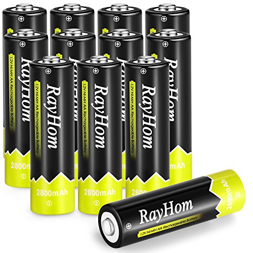 RayHom AA Rechargeable Batteries 2800mah Ni-MH Battery (12 Pack)