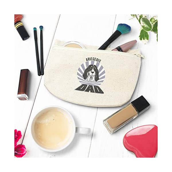 Custom Canvas Makeup Bag Dad Ariegeois Dog School Supplies Pencil Tote Pouch 9x6 Inches Natural Design Only 4