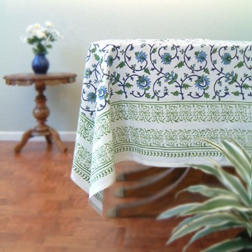 Moonlit Taj ~ Elegant Floral Turquoise Indian Table Cloths 70x90
