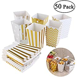NUOLUX Popcorn Boxes Cardboard Candy Container 50pcs Random Color