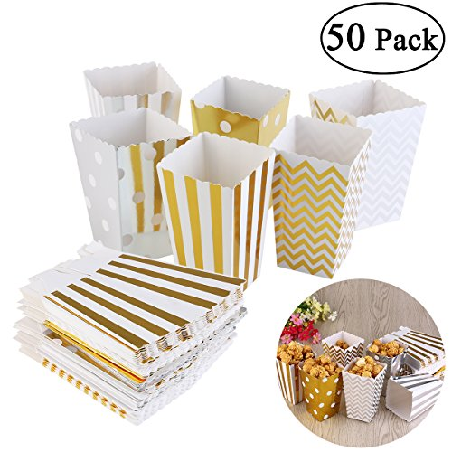 - NUOLUX Popcorn Boxes Cardboard Candy Container 50pcs Random Color