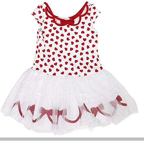 - Biscotti Kate Mack Girl's Cap Sleeve Hearts Tutu Dress, Red/White, Medium (5/6)