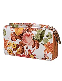 Nicci Women's Double Zip Around Wallet Organizer with Floral Print (Peach/Green/White)