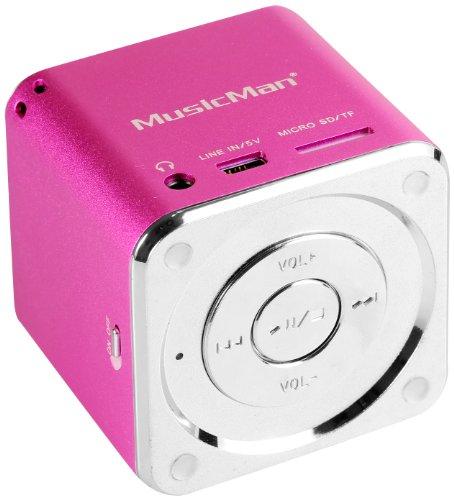 MusicMan Mini Soundstation (MP3 Player, Stereo Lautsprecher, Line In Funktion, SD/microSD Kartenslot) pink