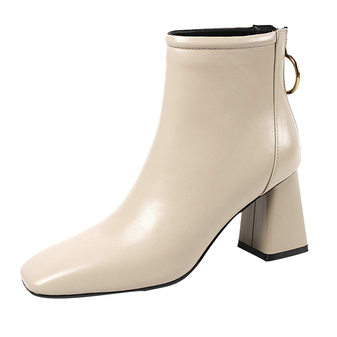 Beige MAYPIE Womens Toanecd Leather Zipper Ankle Boots