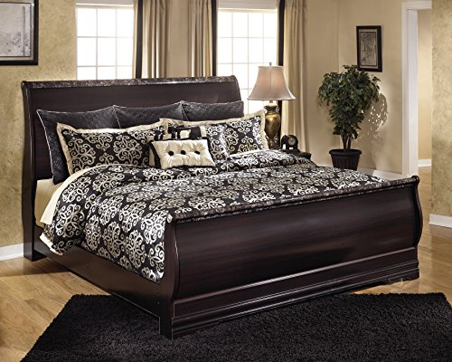 Ashley Furniture Signature Design - Esmarelda Traditional Sleigh Bedset - King Size Bed - Dark Merlot Brown by Ashley Furniture