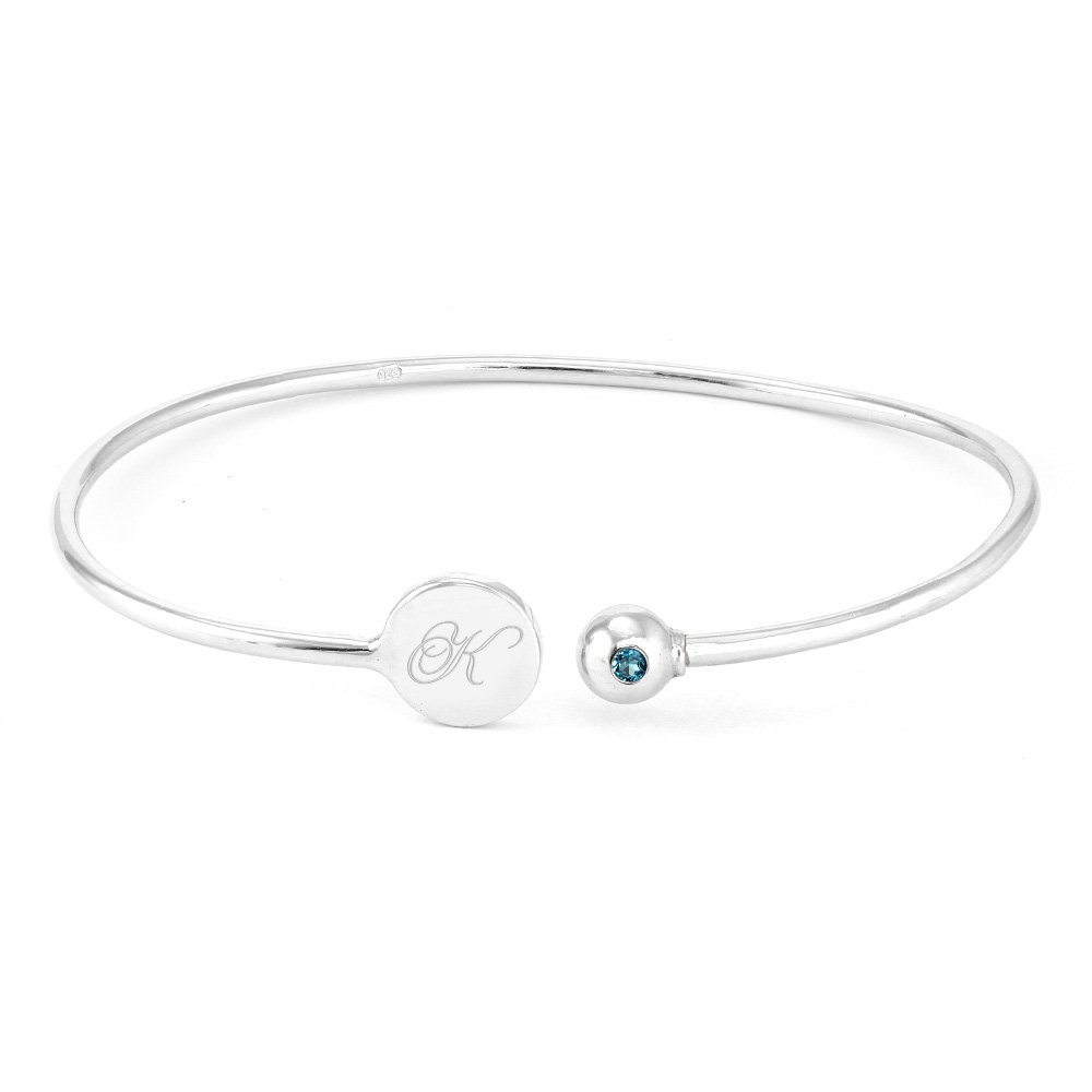 Custom Sterling Silver Birthstone and Initial Signet Cuff Bracelet (7 inches)