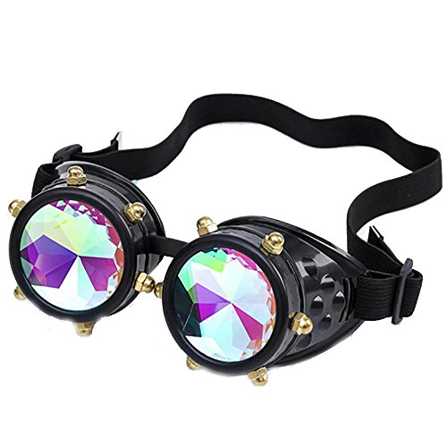 FTXJ Retro Steampunk Goggles Welding Punk Glasses Cosplay (Black (Colorful - Between Difference Lenses Plastic And Glass