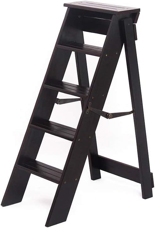 Madera Maciza Plegable Escalera de 5 Pasos Escalera Simple con Forma de Hombre Multifunción Interior Escalera Ascendente Silla Hogar Cocina Baño Biblioteca Carga máxima 150 kg: Amazon.es: Hogar
