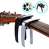 Asmuse Guitar Capo Trigger 2 Pack with 6 pcs Guitar Picks Single Hand Use Quick Change Aluminum Alloy Capos for Classical Acoustic Electric Guitars Bass Ukulele