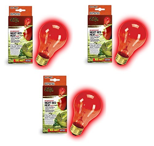 Zilla Night Red Incandescent Heat Bulb, 100-Watt (3 Pack)