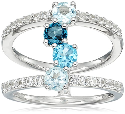 Blue Topaz Lab (Sterling Silver London, Swiss, Sky Blue Topaz and Lab Created White Sapphire Ring, Size 6)