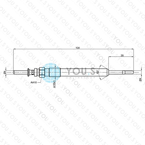 YOU.S Original 12230035934 Gl/ühkerze L/änge 134 mm Spannung 7 V 6 St/ück