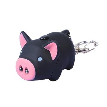 Schweinchen Schl/üsselanh/änger Figur mit LED und Sound Schwein rosa