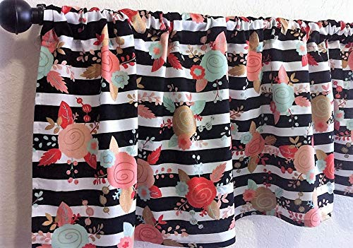 Black & White Stripe with floral Window Valance, 42