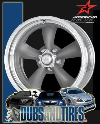 14 Inch Polished American Racing (15x14 American Racing Classic Torq Thrust II (Magnesium Gray Center w/ Polished Barrel) Wheels/Rims 5x120.7)
