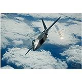 F-22 Raptor (Above Clouds, Firing) Art Poster Print - 13x19
