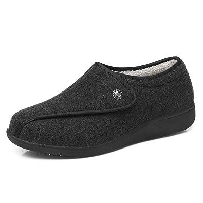 09b6e01595 Amazon.com | Women Diabetic Slipper Wide Fit Adjustable Elderly Warm  Non-Slip Casual Shoes for Bunions Arthritis Edema Swollen Feet | Slippers