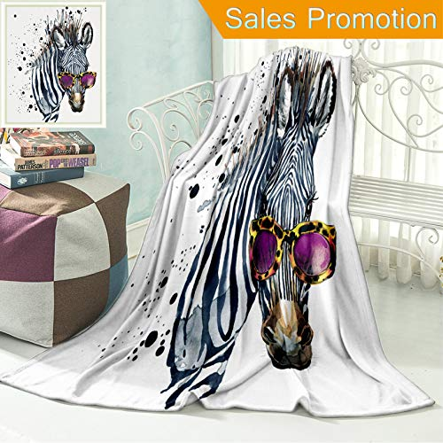 """Ailieo Unique Custom Flannel Blankets Funny Zebra T Shirt Graphics Funny Zebra Illustration with Splash Watercolor Textured Backgr Super Soft Blanketry for Bed Couch, Throw Blanket 40"""" x 60"""" -"""
