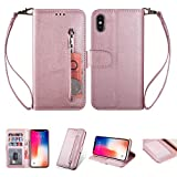 Yobby Zipper Wallet Case for iPhone Xs/X,Premium Vintage PU Leather Flip Cover with Card Holder and Wrist Strap,Stand Shockproof Protective Cover for Apple iPhone Xs/X-Rose Gold