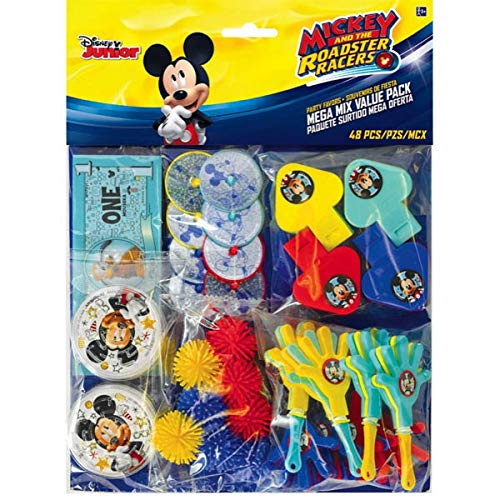 Amscan DisneyMickey Mouse Birthday Party Assorted Mega Mix Favor Set (48 Pack), 11 1/4