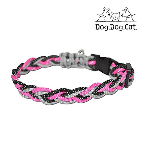 Paracord Dog Collar (Medium 13-21 inches, Pink/Grey w. Reflective) ()
