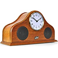 Pyle 2-in-1 Retro Vintage Style Clock & Bluetooth Stereo Speaker System, Brown (PVNTLCL41BT)